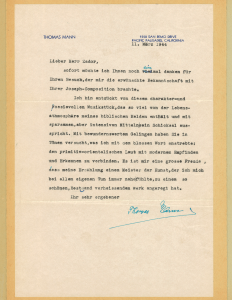 Thomas Mann Letter, March, 1944
